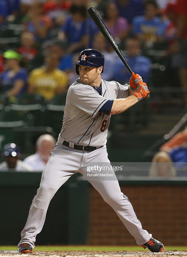 Trevor Crowe #8 of the Houston Astros at Rangers Ballpark in Arlington on September 24, 2013 in Arlington, Texas.