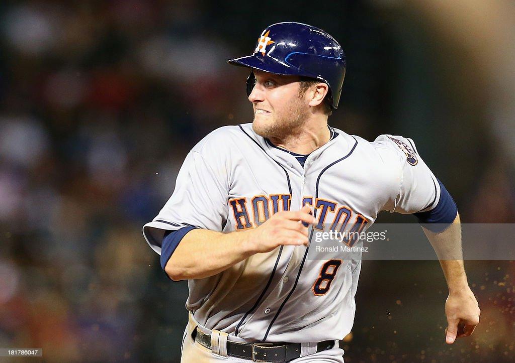 Trevor Crowe #8 of the Houston Astros at Rangers Ballpark in Arlington on September 24, 2013 in Arlington, Texas.