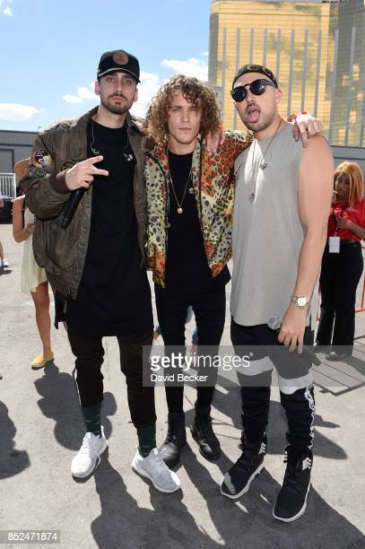 KEVI Trevor Dahl and Matthew Russell of Cheat Codes backstage during the Daytime Village Presented by Capital One at the 2017 HeartRadio Music...