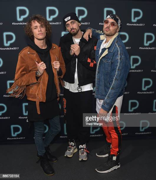 Trevor Dahl Kevin Ford and Matthew Russell of Cheat Codes pose backstage at Pandora Sounds Like You 2017 on December 5 2017 in New York City