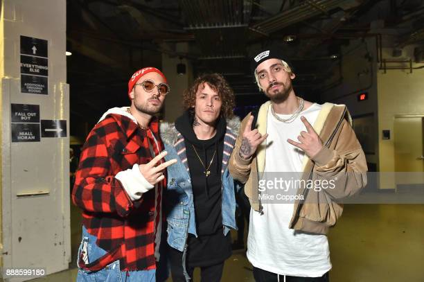 Trevor Dahl Matthew Russell and Kevin Ford of Cheat Codes attend Z100's Jingle Ball 2017 backstage on December 8 2017 in New York City