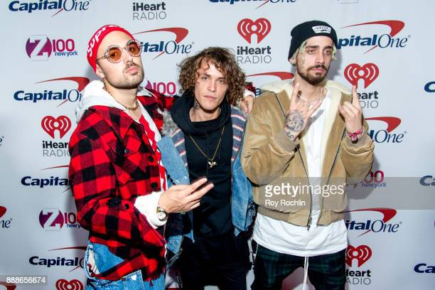 Trevor Dahl Matthew Russell and Kevin Ford of Cheat Codes attend Z100's iHeartRadio Jingle Ball 2017 at Madison Square Garden on December 8 2017 in...