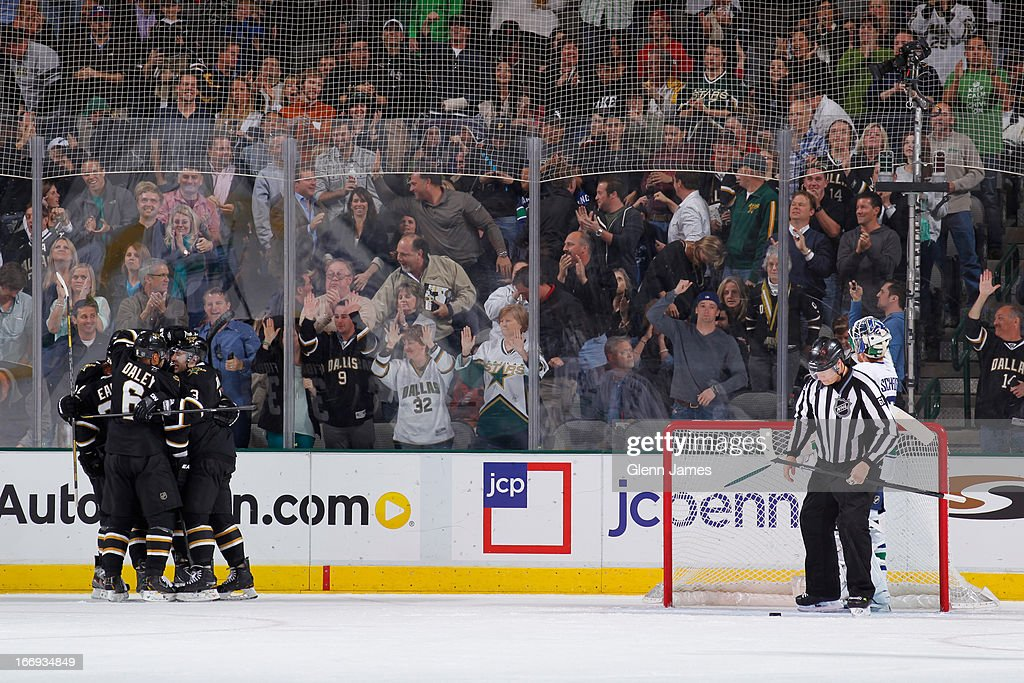 <a gi-track='captionPersonalityLinkClicked' href=/galleries/search?phrase=Trevor+Daley&family=editorial&specificpeople=213975 ng-click='$event.stopPropagation()'>Trevor Daley</a> #6 and the Dallas Stars celebrate a goal against the Vancouver Canucks at the American Airlines Center on April 18, 2013 in Dallas, Texas.