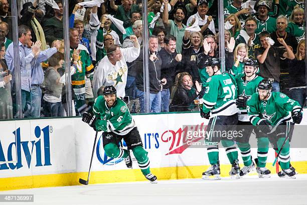 Trevor Daley Cody Eakin Antoine Roussel and Alex Goligoski of the Dallas Stars celebrate a goal against the Anaheim Ducks in Game Six of the First...