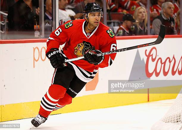 Trevor Daley of the Chicago Blackhawks plays in the game against the New York Rangers at the United Center on October 7 2015 in Chicago Illinois