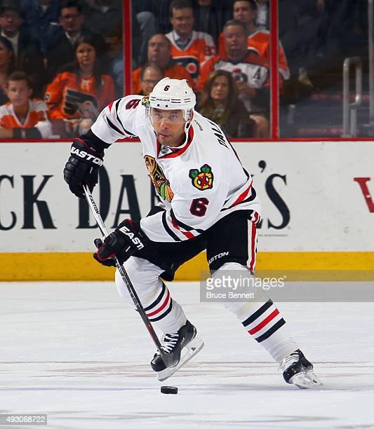 Trevor Daley of the Chicago Blackhawks skates against the Philadelphia Flyers at the Wells Fargo Center on October 14 2015 in Philadelphia...