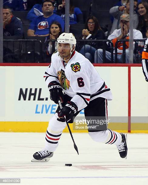 Trevor Daley of the Chicago Blackhawks skates against the New York Islanders at the Barclays Center on October 9 2015 in Brooklyn borough of New York...