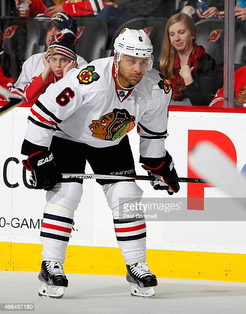 Trevor Daley of the Chicago Blackhawks waits for a faceoff in an NHL hockey game against the New Jersey Devils at Prudential Center on November 6...