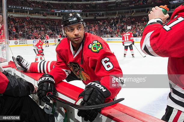 Trevor Daley of the Chicago Blackhawks warms up prior to the NHL game against the Anaheim Ducks at the United Center on October 26 2015 in Chicago...
