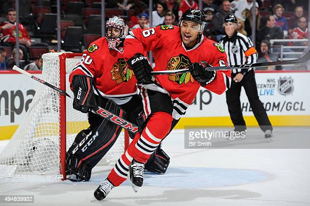 Trevor Daley of the Chicago Blackhawks watches for the puck during the NHL game against the Columbus Blue Jackets at the United Center on October 17...