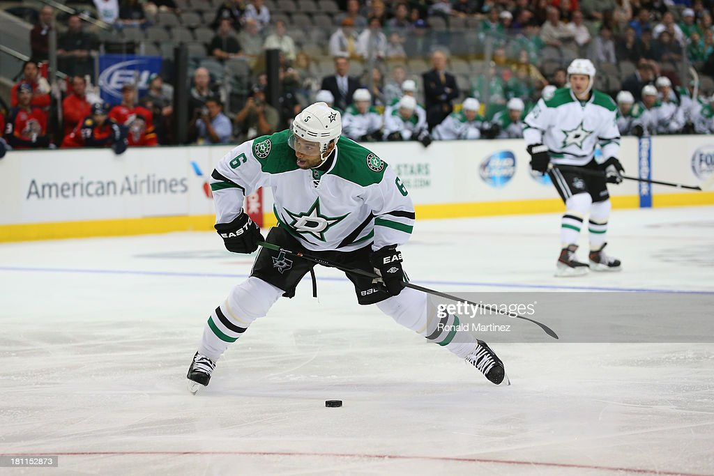 <a gi-track='captionPersonalityLinkClicked' href=/galleries/search?phrase=Trevor+Daley&family=editorial&specificpeople=213975 ng-click='$event.stopPropagation()'>Trevor Daley</a> #6 of the Dallas Stars during a preseason game at American Airlines Center on September 18, 2013 in Dallas, Texas.