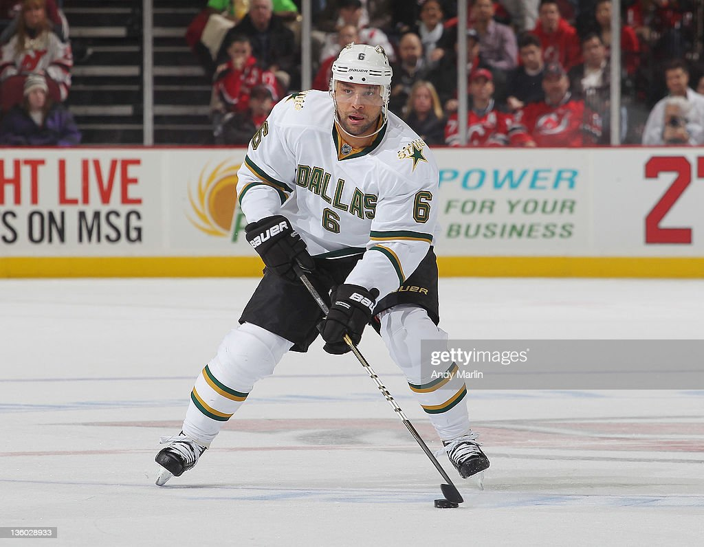 <a gi-track='captionPersonalityLinkClicked' href=/galleries/search?phrase=Trevor+Daley&family=editorial&specificpeople=213975 ng-click='$event.stopPropagation()'>Trevor Daley</a> #6 of the Dallas Stars skates during game action against the New Jersey Devils at the Prudential Center on December 16, 2011 in Newark, New Jersey.