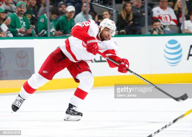 Trevor Daley of the Detroit Red Wings makes a pass to a teammate against the Dallas Stars at the American Airlines Center on October 10 2017 in...