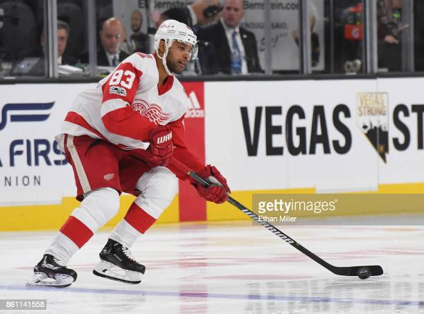 Trevor Daley of the Detroit Red Wings skates with the puck against the Vegas Golden Knights in the third period of their game at TMobile Arena on...