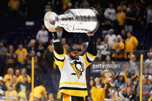 Trevor Daley of the Pittsburgh Penguins celebrates after defeating the Nashville Predators 20 in Game Six of the 2017 NHL Stanley Cup Final at the...