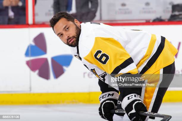 Trevor Daley of the Pittsburgh Penguins looks on during warmups prior to a game against the Ottawa Senators in Game Six of the Eastern Conference...