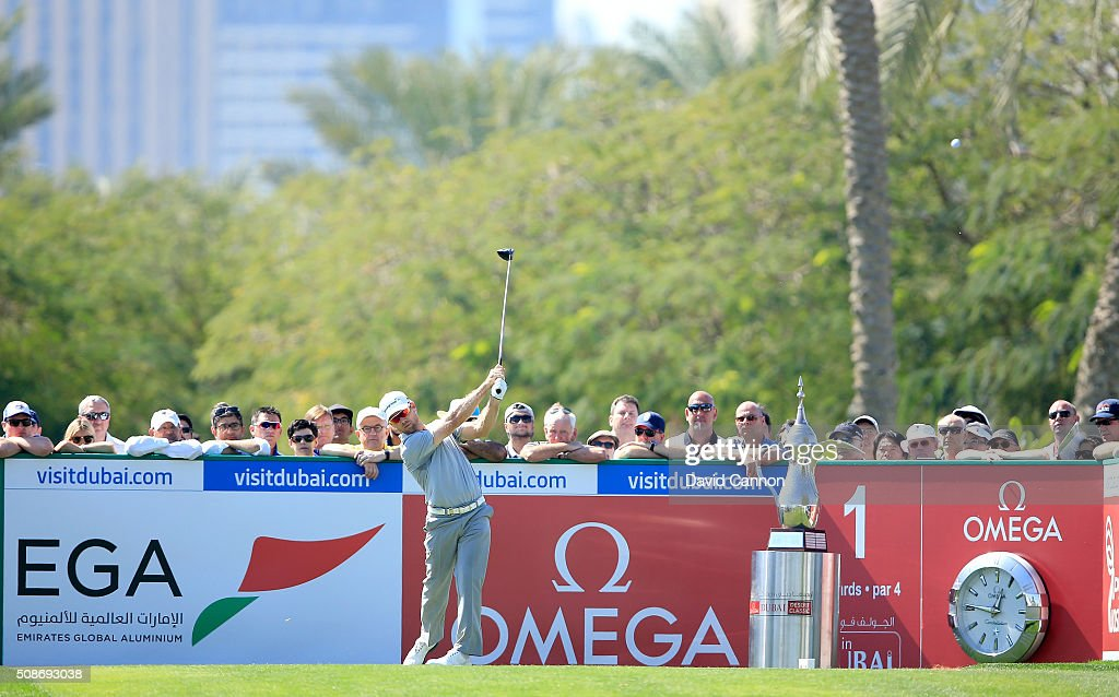Trevor Fisher Jnr of South Africa plays his tee shot at the par 4, first hole during the third round of the 2016 Omega Dubai Desert Classic on the Majlis Course at the Emirates Golf Club on February 6, 2016 in Dubai, United Arab Emirates.