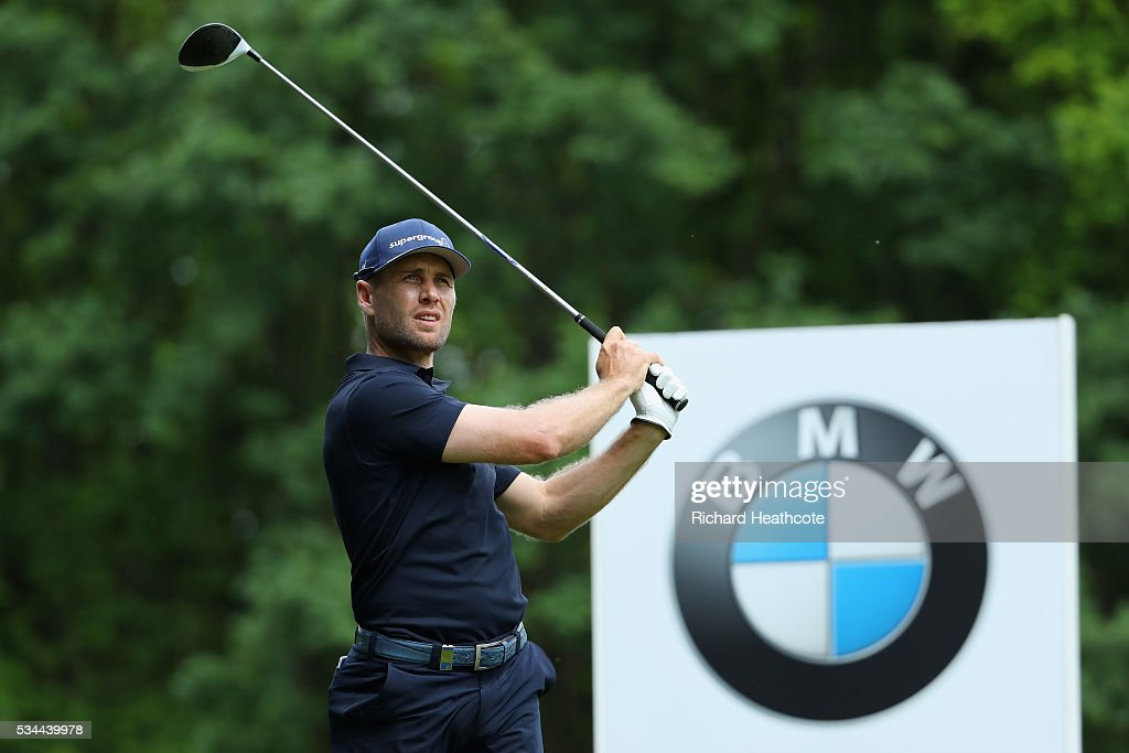 Trevor Fisher Jnr of South Africa tees off during day one of the BMW PGA Championship at Wentworth on May 26, 2016 in Virginia Water, England.