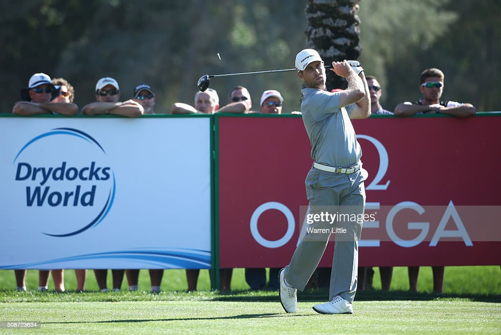 Trevor Fisher Jnr of South Africa tees off on the 12th hole during the third round of the Omega Dubai Desert Classic at the Emirates Golf Club on February 6, 2016 in Dubai, United Arab Emirates.