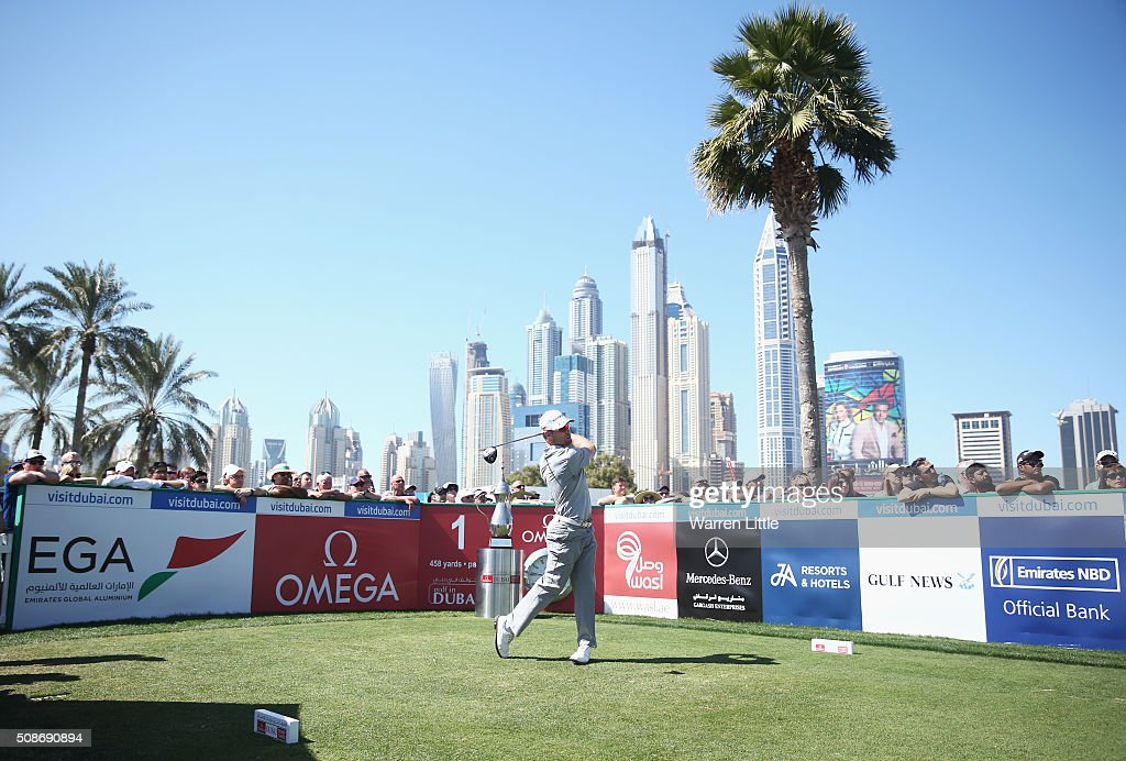 Trevor Fisher Jnr of South Africa tees off on the 1st hole during the third round of the Omega Dubai Desert Classic at the Emirates Golf Club on February 6, 2016 in Dubai, United Arab Emirates.