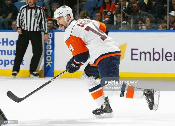 Trevor Gillies of the New York Islanders skates against the Philadelphia Flyers on April 1 2010 at Nassau Coliseum in Uniondale New York Islanders...
