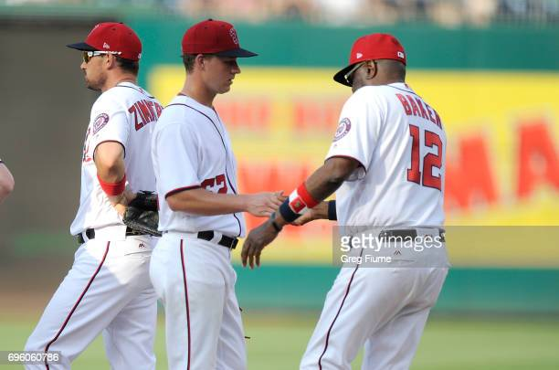 Trevor Gott of the Washington Nationals is taken out of the game by manager Dusty Baker in the seventh inning against the Atlanta Braves at Nationals...