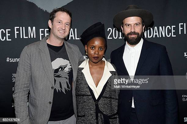 Trevor Groth Janicza Bravo and Brett Gelman attend the 'Lemon' Premiere on day 4 of the 2017 Sundance Film Festival at Library Center Theater on...