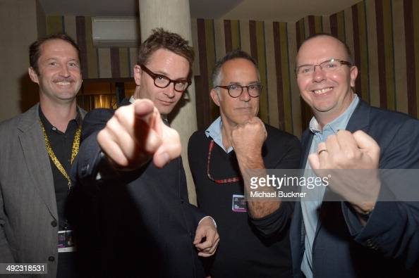 Trevor Groth Nicolas Winding Refn John Cooper and IMDb Founder and CEO Col Needham attend IMDb's 2014 Cannes Film Festival Dinner Party at Restaurant...