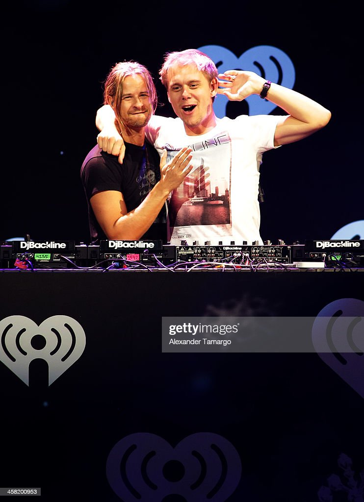 Trevor Guthrie (L) and <a gi-track='captionPersonalityLinkClicked' href=/galleries/search?phrase=Armin+van+Buuren&family=editorial&specificpeople=801189 ng-click='$event.stopPropagation()'>Armin van Buuren</a> perform onstage during Y100's Jingle Ball 2013 Presented by Jam Audio Collection at BB&T Center on December 20, 2013 in Miami, Florida.