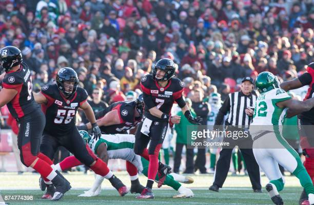 Trevor Harris of the Ottawa Redblacks calmly follows through on his pass as chaos descends around the pocket Harris was playing against the...