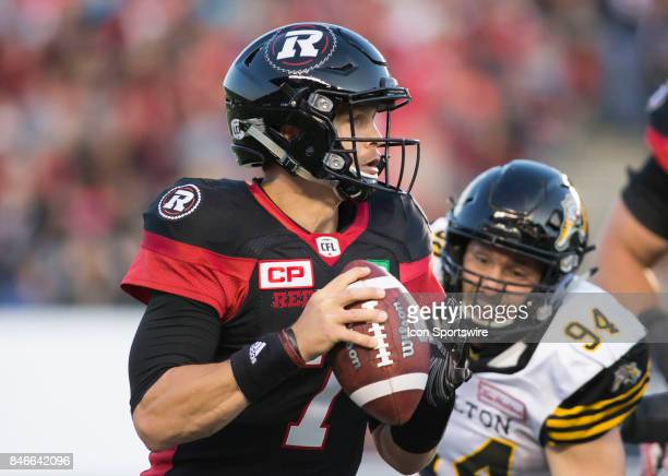 Trevor Harris of the Ottawa Redblacks in Canadian Football League Action at TD Place Stadium in Ottawa Canada on Saturday September 9 2017 The...