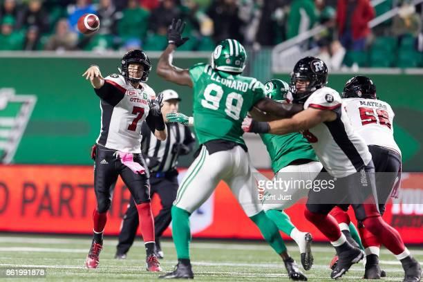 Trevor Harris of the Ottawa Redblacks throws a pass in the game between the Ottawa Redblacks and Saskatchewan Roughriders at Mosaic Stadium on...