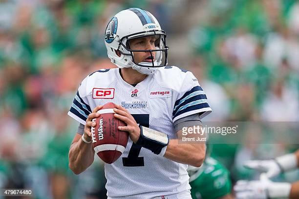 Trevor Harris of the Toronto Argonauts looks for an open receiver in the game between the Toronto Argonauts and Saskatchewan Roughriders in week 2 of...
