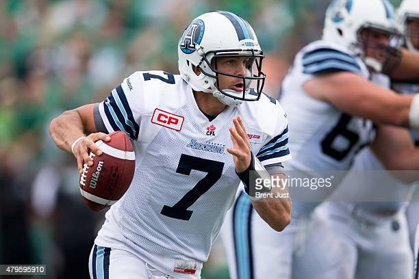 Trevor Harris of the Toronto Argonauts scrambles out of the pocket in the game between the Toronto Argonauts and Saskatchewan Roughriders in week 2...