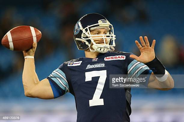 Trevor Harris of the Toronto Argonauts warms up before the start of CFL game action against the Ottawa Redblacks on November 7 2014 at Rogers Centre...