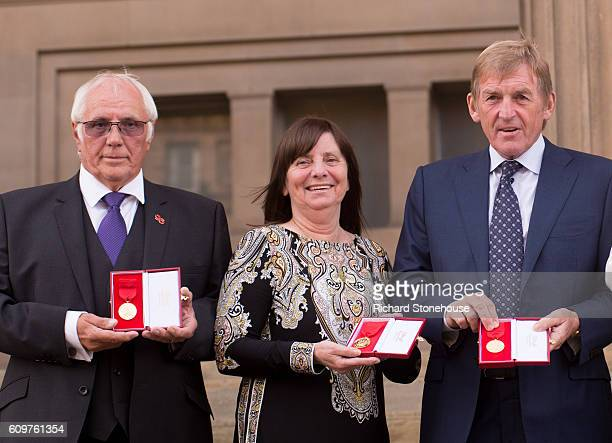 Trevor Hick Margaret Aspinall and Kenny Dalglish pose with Freedom of the City of Liverpool medals outside St George's Hall on September 22 2016 in...