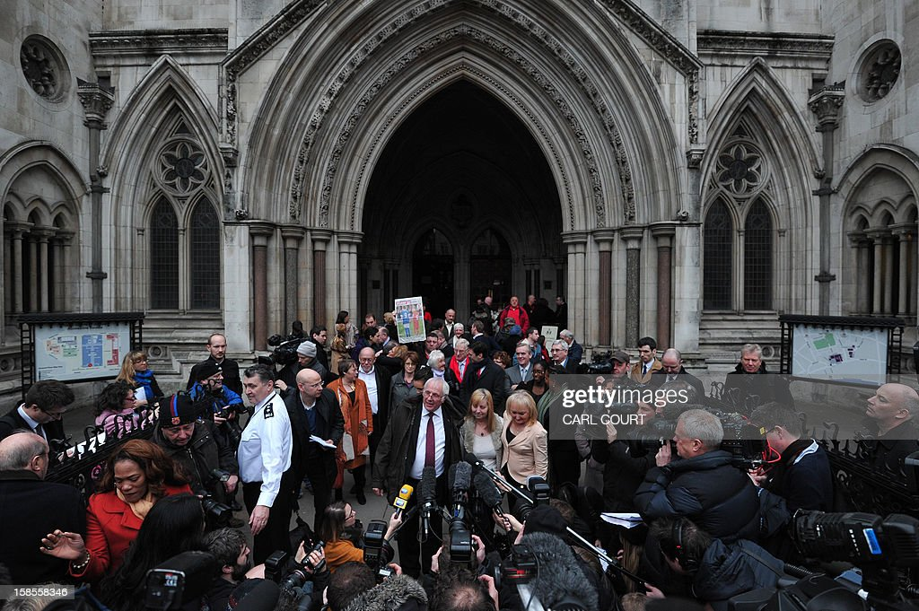 Trevor Hicks, Margaret Aspinall and Jenni Hicks of the Hillsborough Family Support Group, talk to the media outside the High Court in central London on December 19, 2012,after the High Court quashed the original accidental death verdicts returned on 96 Liverpool football fans who died in the tragedy. The request from the Attorney General to quash the original inquest verdicts follows the publication of a damning independent report in September which concluded that 41 of the 96 people who died would have had the 'potential to survive' if they had received medical treatment more quickly. Attorney General Dominic Grieve called for fresh inquests to be held. The fatal crush was caused by huge overcrowding in a terrace at Hillsborough Stadium in the northern English city of Sheffield prior to an FA Cup semi-final between Liverpool and Nottingham Forest in 1989.