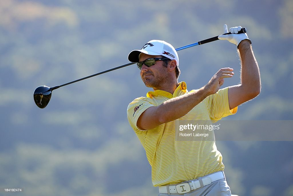 <a gi-track='captionPersonalityLinkClicked' href=/galleries/search?phrase=Trevor+Immelman&family=editorial&specificpeople=202634 ng-click='$event.stopPropagation()'>Trevor Immelman</a> of South Africa makes a tee shot on the ninth hole during round two of the Frys.com Open at the CordeValle Golf Club on October 11, 2013 in San Martin, California.