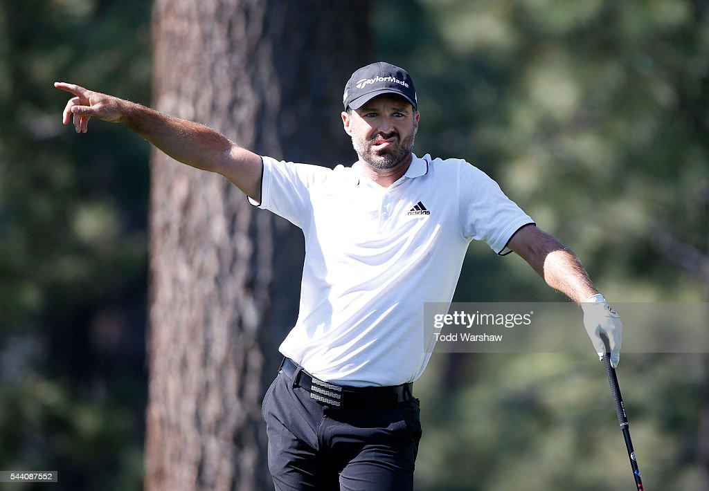 Trevor Immelman of South Africa reacts to his shot from the eighth tee during the second round of the Barracuda Championship at the Montreux Golf and Country Club on July 1, 2016 in Reno, Nevada.