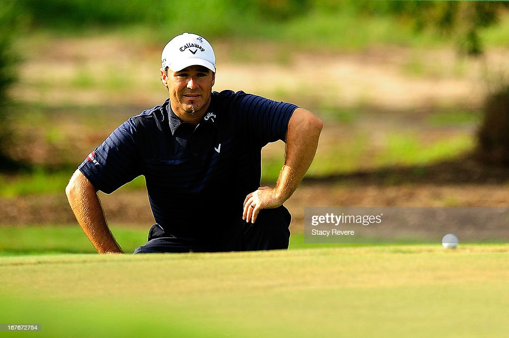 Trevor Immelman of South Africa reads a putt on the 2nd hole during the third round of the Zurich Classic of New Orleans at TPC Louisiana on April 27, 2013 in Avondale, Louisiana.