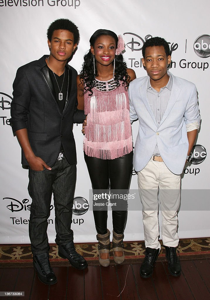 Trevor Jackson, Coco Jones and <a gi-track='captionPersonalityLinkClicked' href=/galleries/search?phrase=Tyler+James+Williams&family=editorial&specificpeople=631099 ng-click='$event.stopPropagation()'>Tyler James Williams</a> arrive to Disney ABC Television Group's 'TCA Winter Press Tour' at the Langham Huntington Hotel on January 10, 2012 in Pasadena, California.