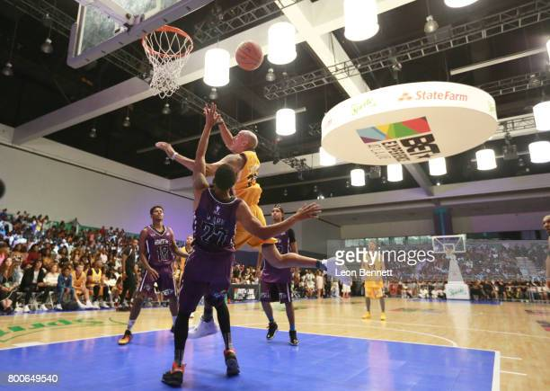 Trevor Jackson Jonathan Clark and Doug Christie at the Celebrity Basketball Game presented by Sprite and State Farm during the 2017 BET Experience at...