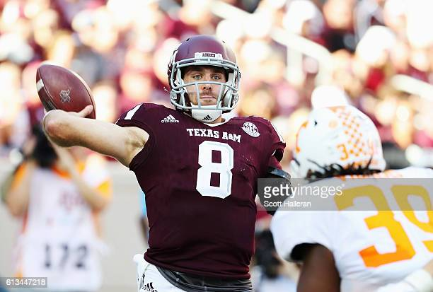 Trevor Knight of the Texas AM Aggies drops back to pass in the second half of their game against the Tennessee Volunteers at Kyle Field on October 8...