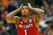 Trevor Lacey of the North Carolina State Wolfpack reacts in the second half of the game against the Louisville Cardinals during the East Regional...