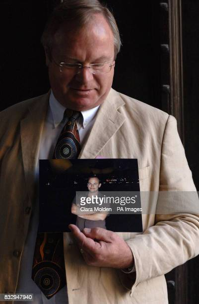 Trevor Lakin looks at a photograph of his son Jeremy Lakin who was killed in the July 2005 bomb attack on Sharm El Sheik Egypt outside the House of...