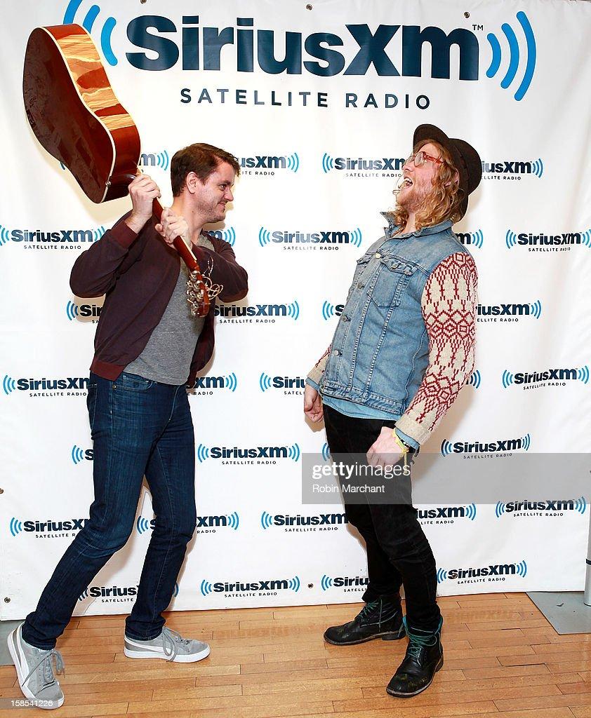 Trevor Larkin (L) and Allen Stone visit the SiriusXM Studios on December 18, 2012 in New York City.