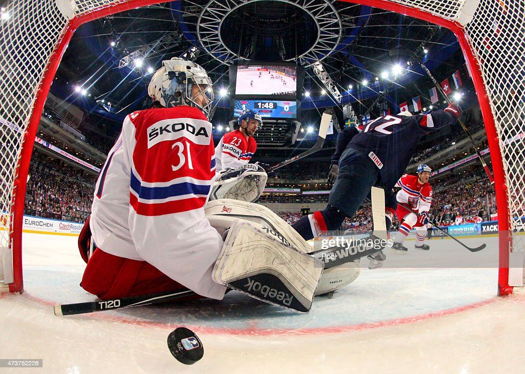 Trevor Lewis #22 (R) of USA celebrates after scoring his team's second goal past goaltender Ondrej Pavelec #31 of Czech Republic during the 2015 IIHF Ice Hockey World Championship bronze medal game between Czech Republic and USA at the O2 Arena on May 17, 2015 in Prague, Czech Republic.