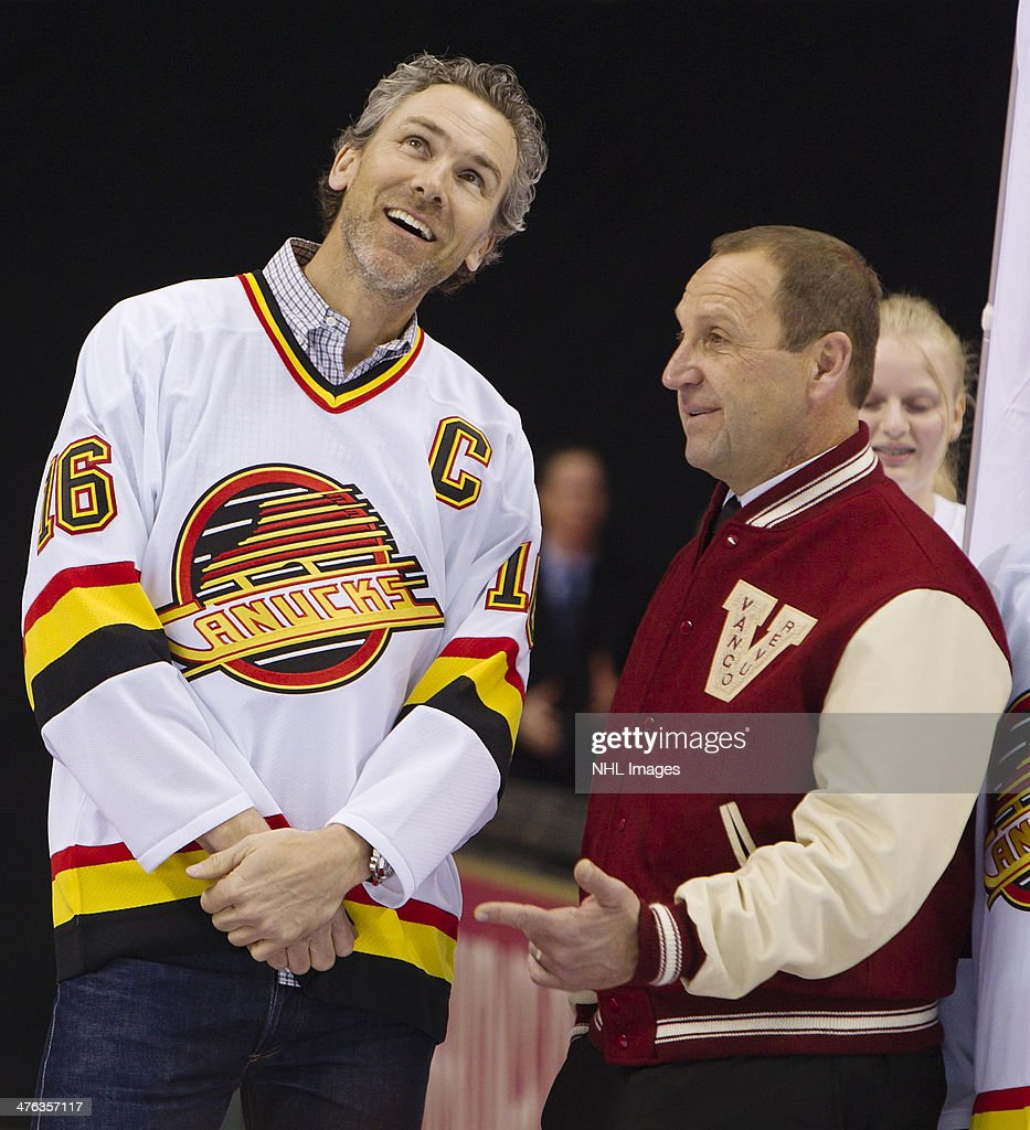 Trevor Linden and Stan Smyl both former captains of the Vancouver Canucks are introduced prior to the 2014 Tim Hortons Heritage Classic between the Ottawa Senators and the Vancouver Canucks at BC Place on March 2, 2014 in Vancouver, B.C., Canada.