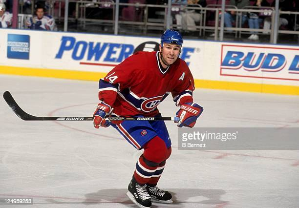 Trevor Linden of the Montreal Canadiens skates on the ice during an NHL game against the New York Rangers on January 31 2001 at the Madison Square...