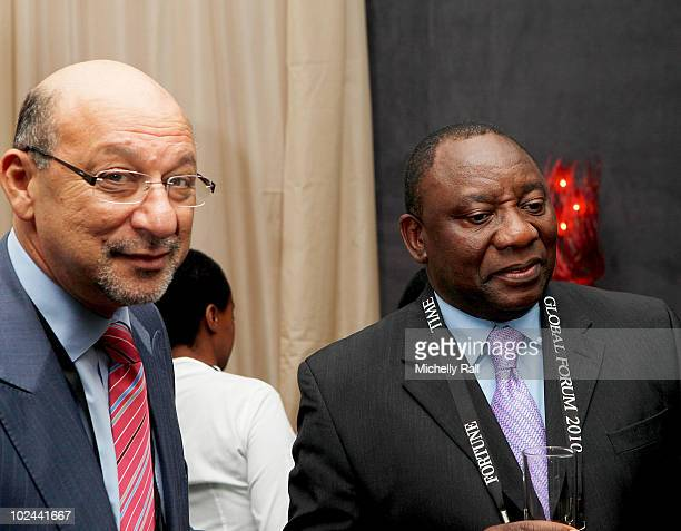 Trevor Manuel Minister of the Presidency South Africa and Cyril Ramaphosa Founder Shandouka Group attend the TIME/FORTUNE/CNN Global Forum at the...